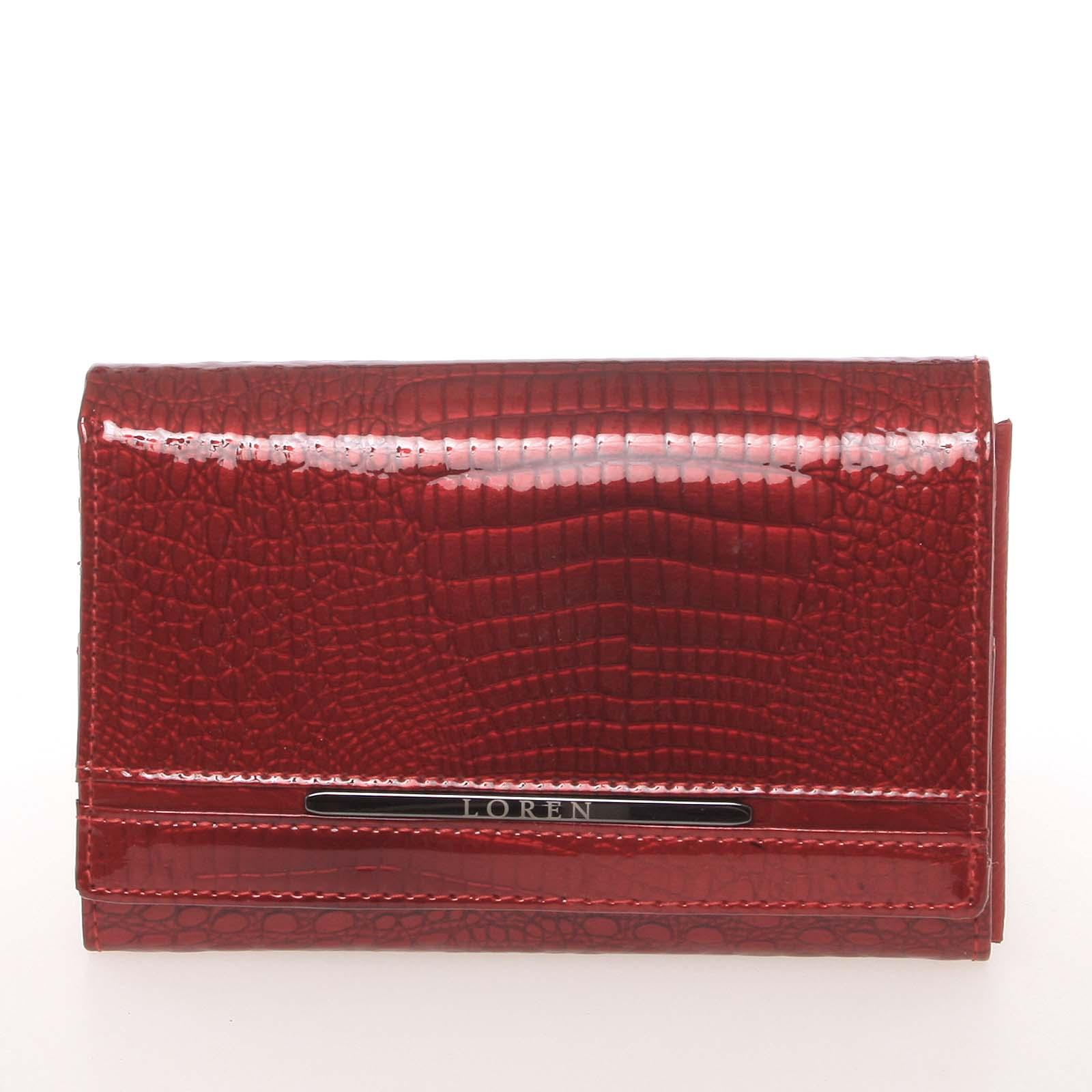 Dámská červená moderní kožená lakovaná peněženka - Loren 0507