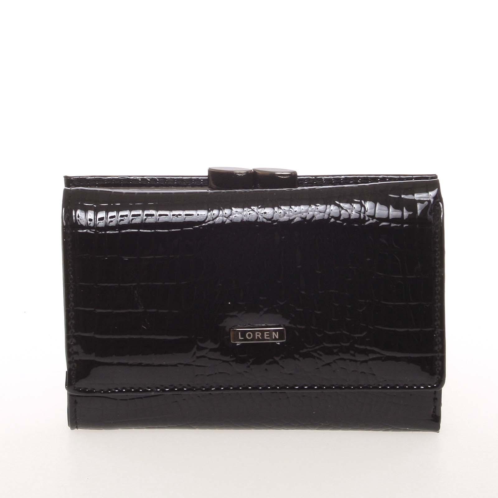 Malá kožená lakovaná dámská peněženka černá - Loren 55282RS