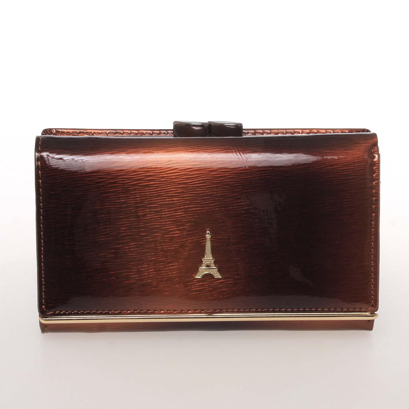 Exkluzivní střední kožená dámská peněženka hnědá - PARIS 55020DSHK