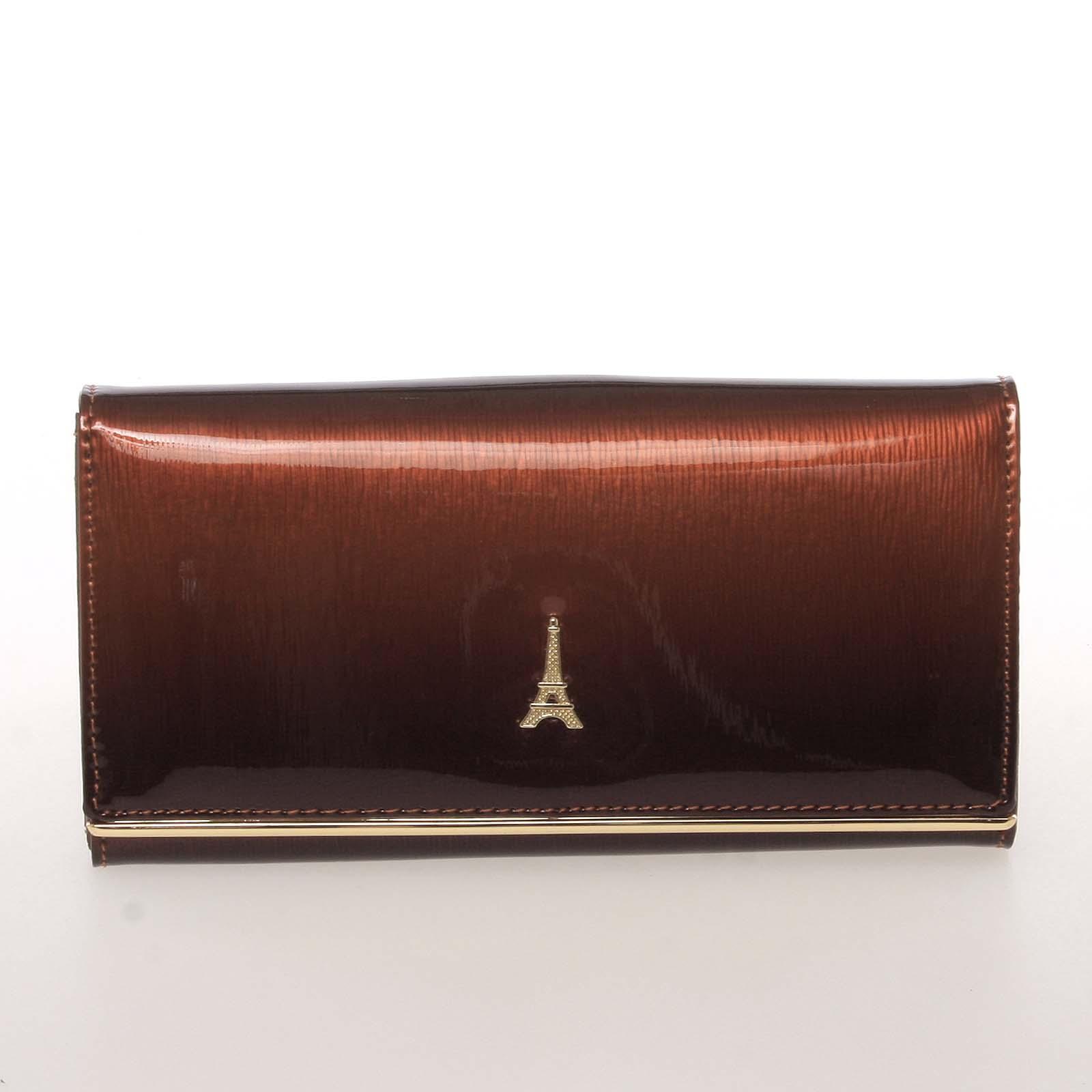 Jedinečná kožená lakovaná dámská peněženka hnědá - PARIS 64003DSHK