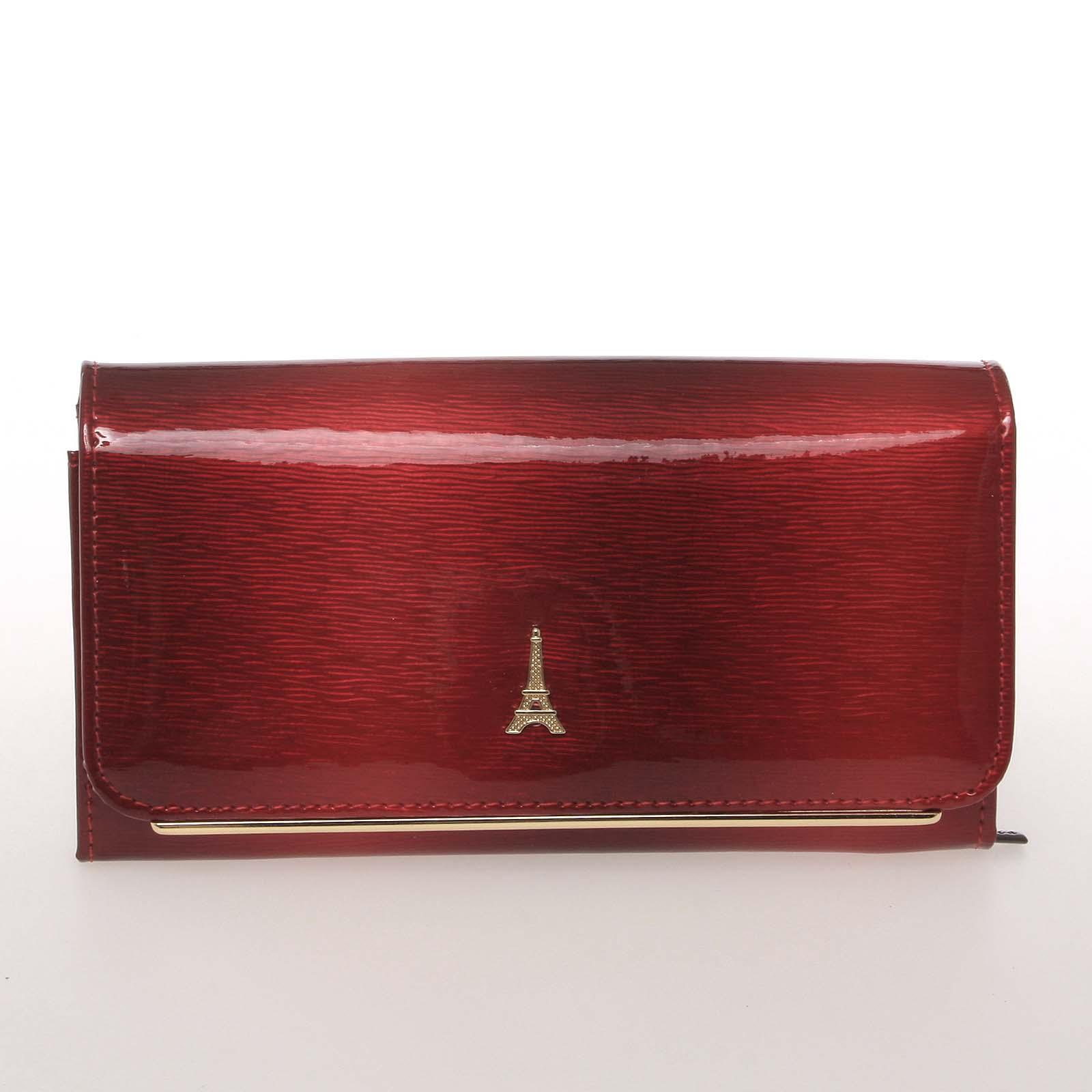 Stylová kožená lakovaná dámská peněženka červená - PARIS 74110DSHK