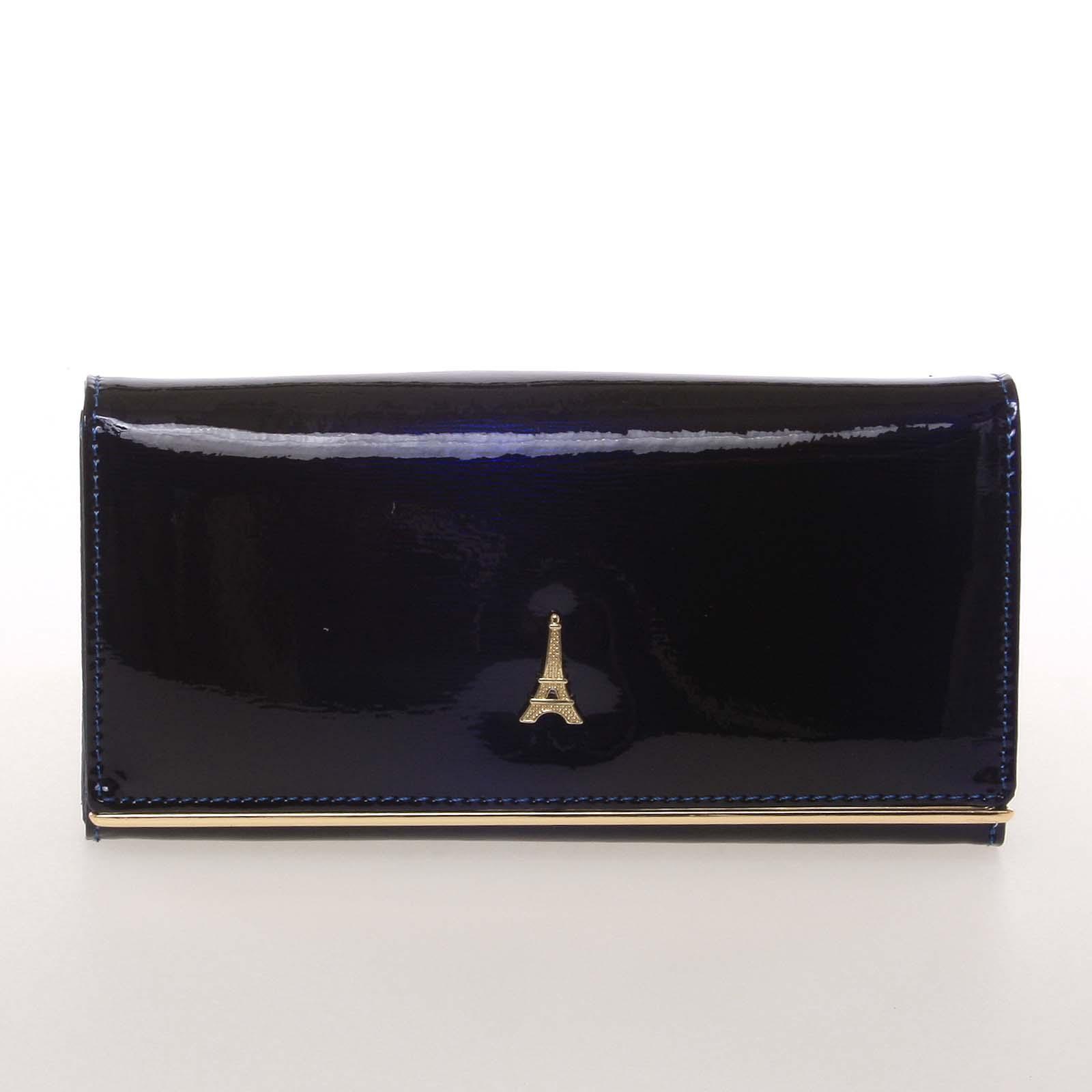 Jedinečná kožená lakovaná dámská peněženka modrá - PARIS 64003DSHK