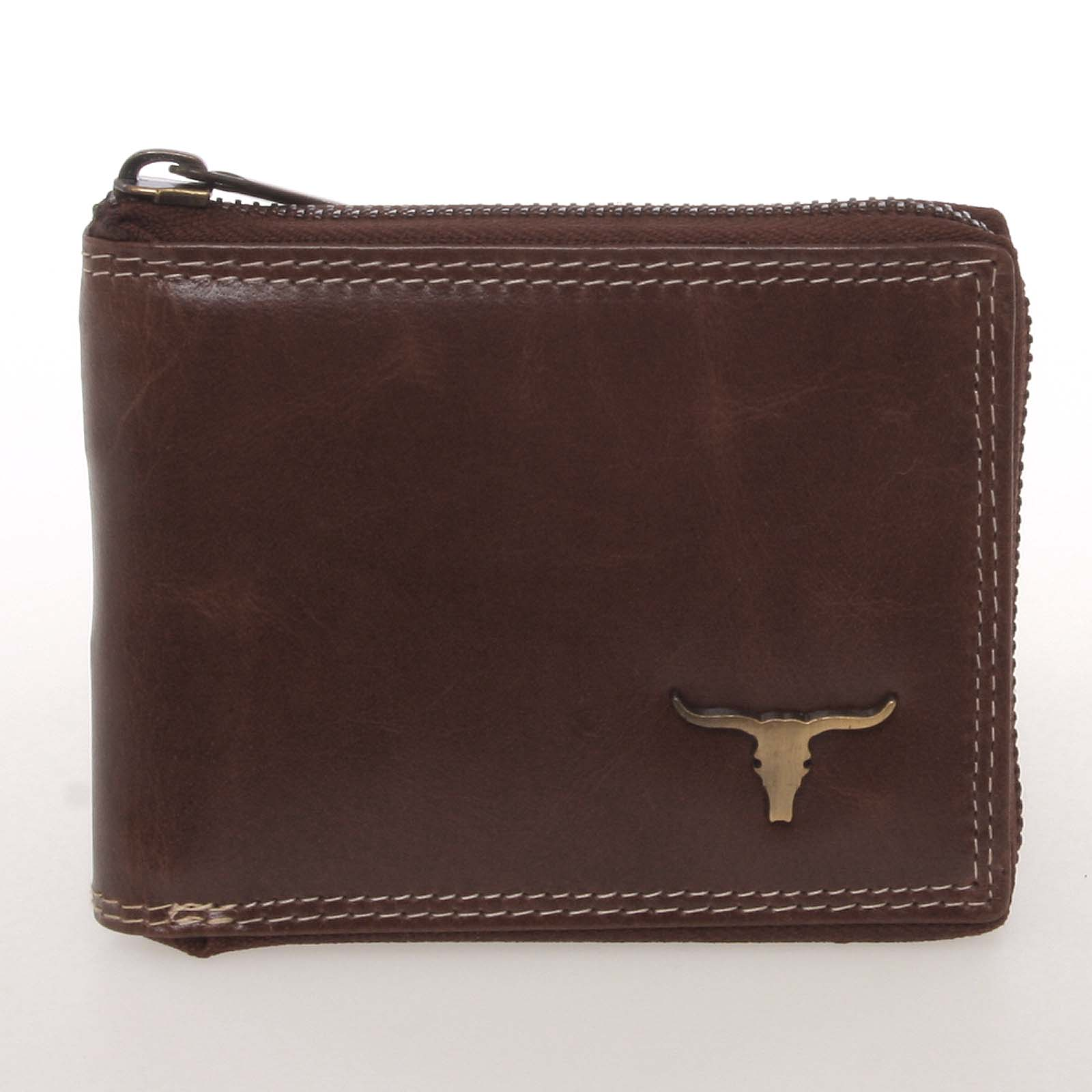 Módní pánská kožená peněženka na zip hnědá - BUFFALO Reymundo