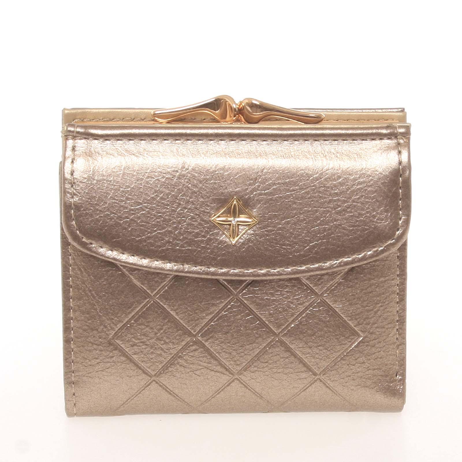 Trendy menší dámská zlatá peněženka se vzorem - Milano Design SF1815