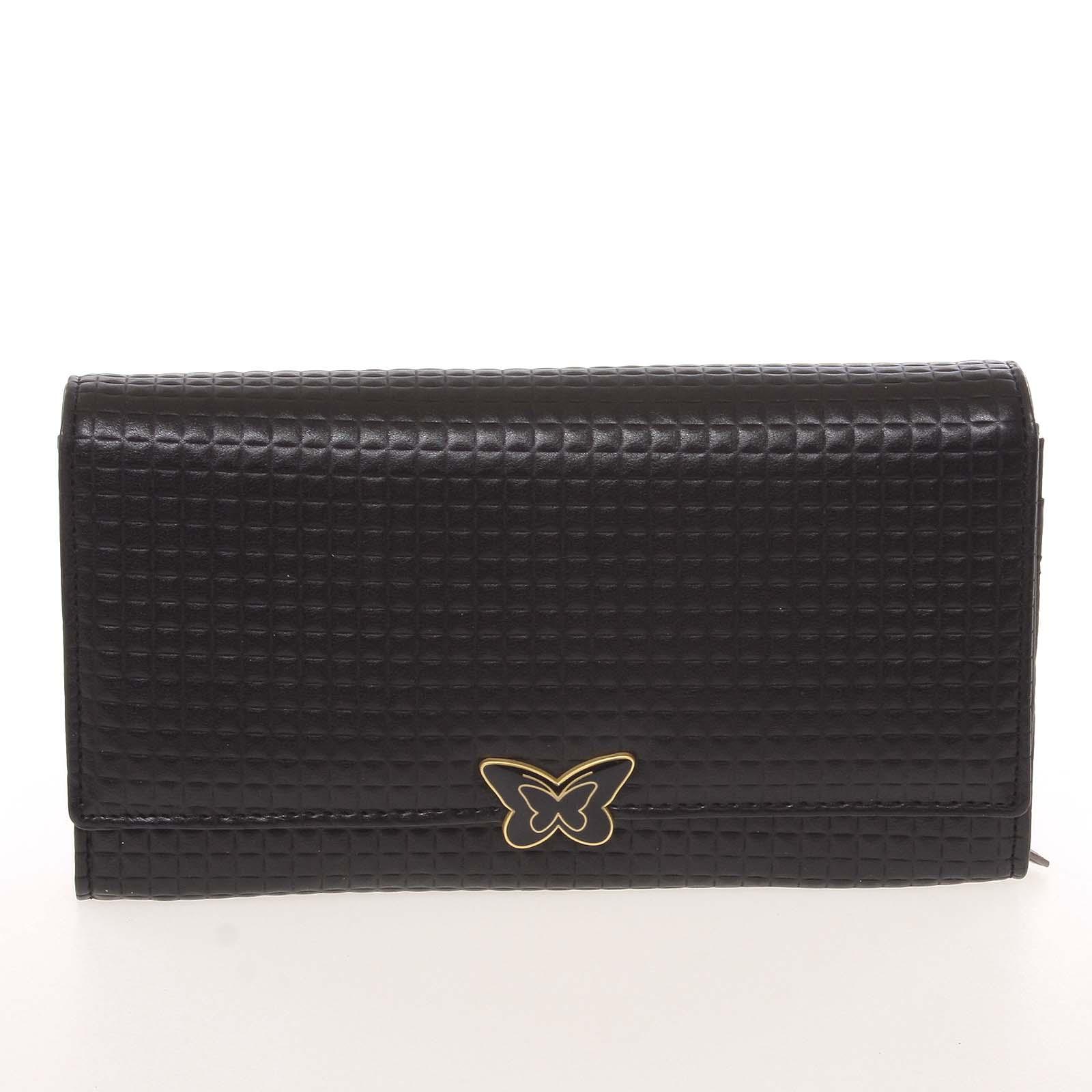 Elegantní dámská polokožená černá peněženka - Cavaldi PX202