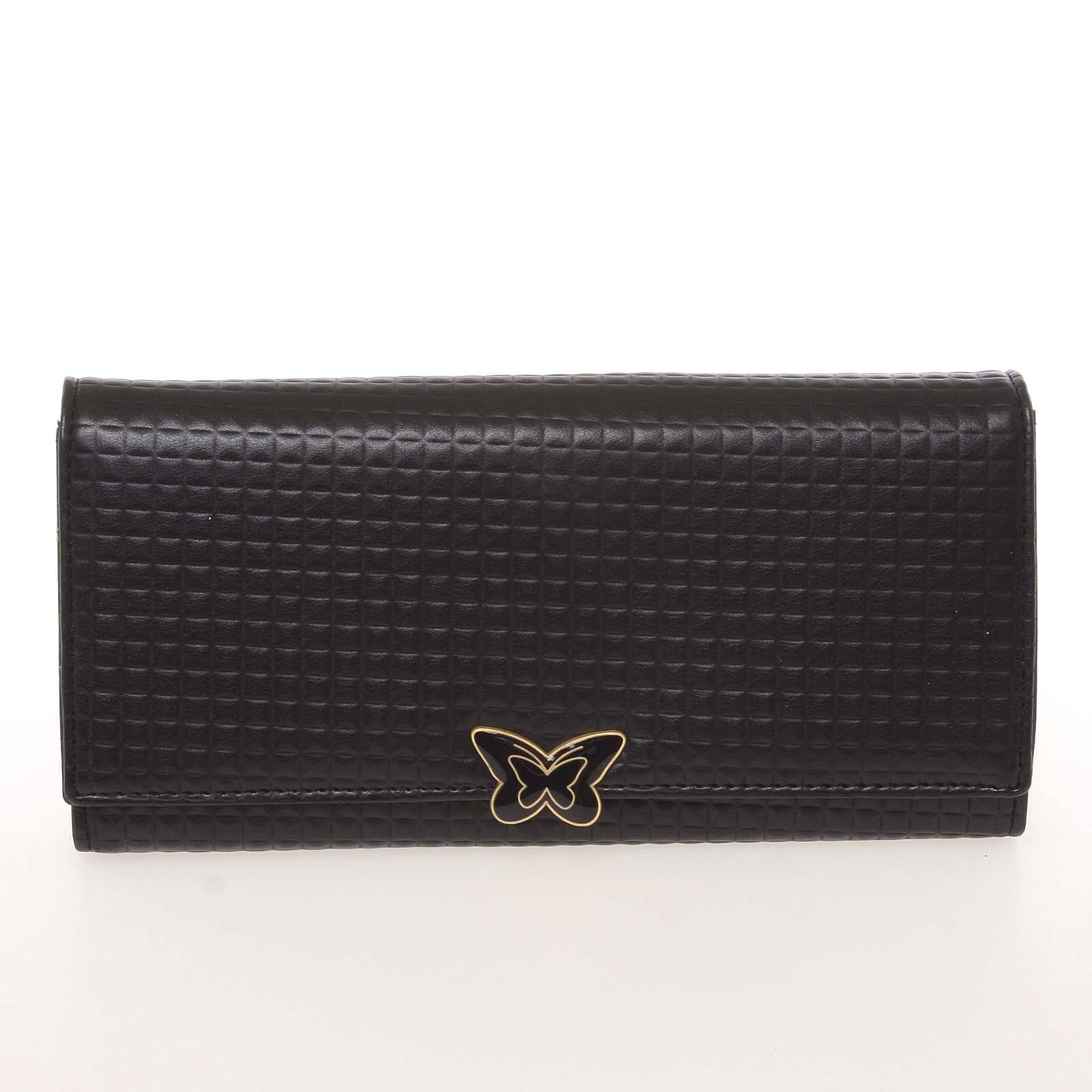Exkluzivní dámská polokožená strukturovaná černá peněženka - Cavaldi PX242