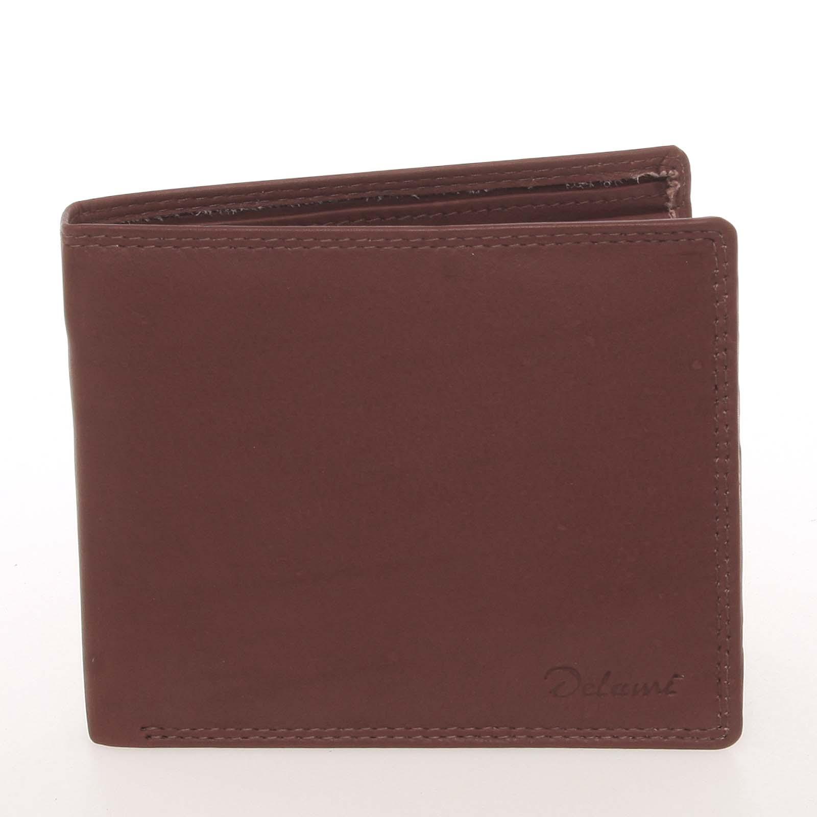 Elegantní pánská kožená hnědá peněženka - Delami Kerman