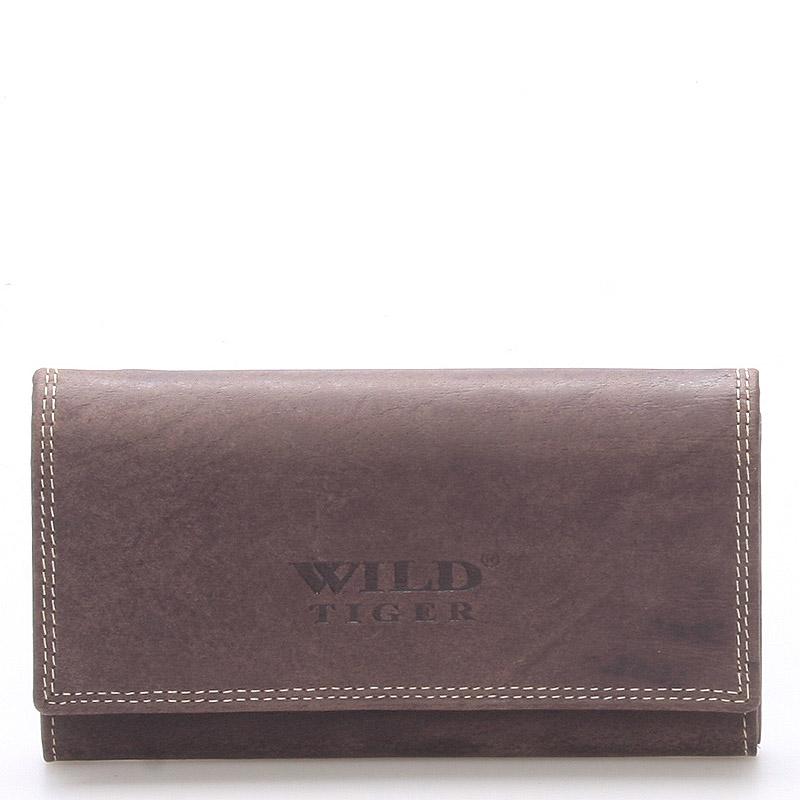 Dámská větší kožená peněženka tmavě hnědá - WILD Baccus