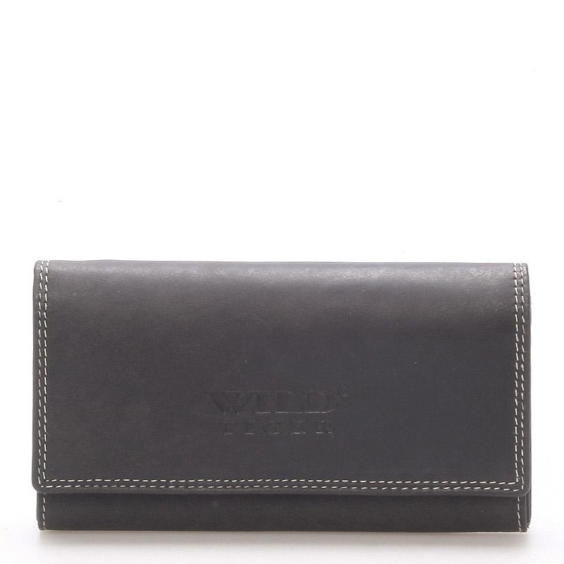 Dámská větší kožená peněženka černá - WILD Baccus