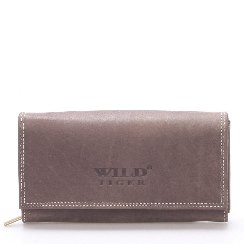 Větší kožená peněženka tmavě hnědá - WILD Babita