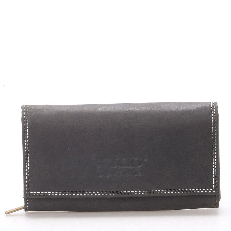 Větší kožená peněženka černá - WILD Babita