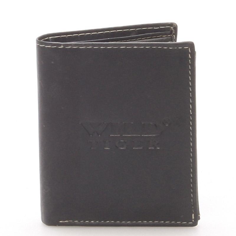 Malá pánská kožená peněženka černá - WILD Barnabas