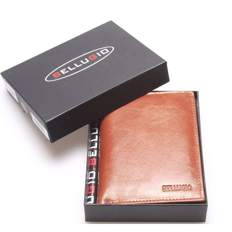 Pánská hladká kožená peněženka hnědá - Bellugio Cadmus