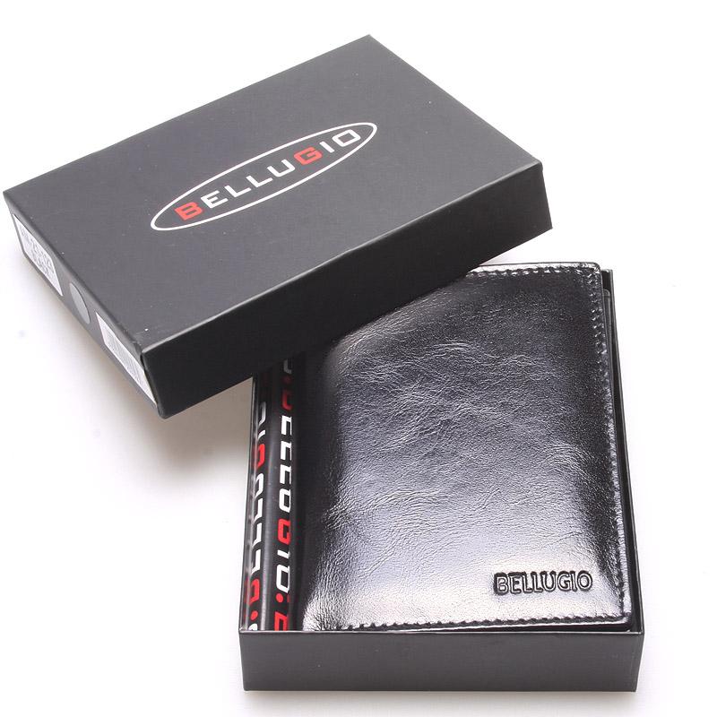 Pánská hladká kožená peněženka černá - Bellugio Cadmus