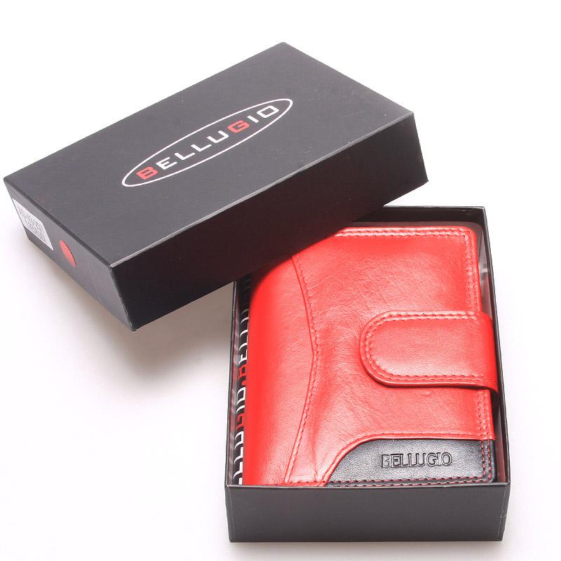 Větší kožená peněženka dámská červená - Bellugio Cadis