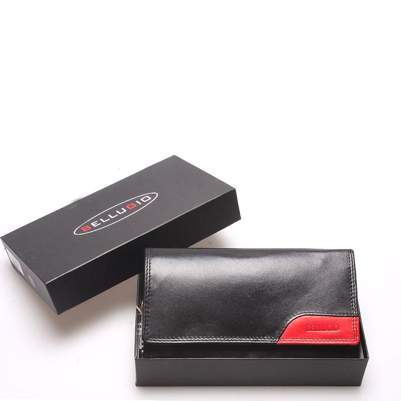 Velká trendy dámská kožená peněženka černá - Bellugio Cailey