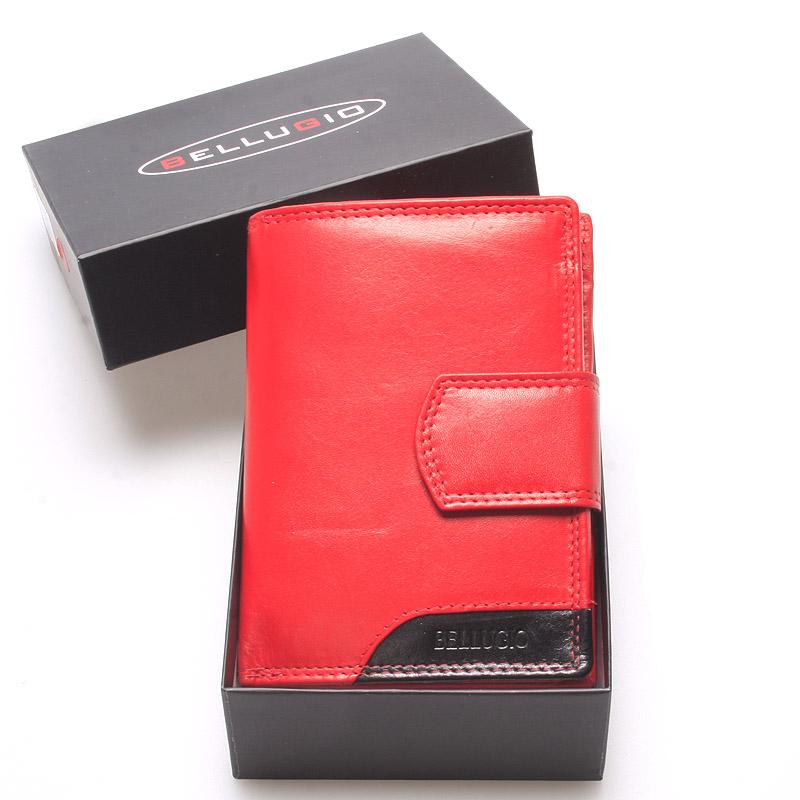 Luxusní větší dámská kožená peněženka červená - Bellugio Calista