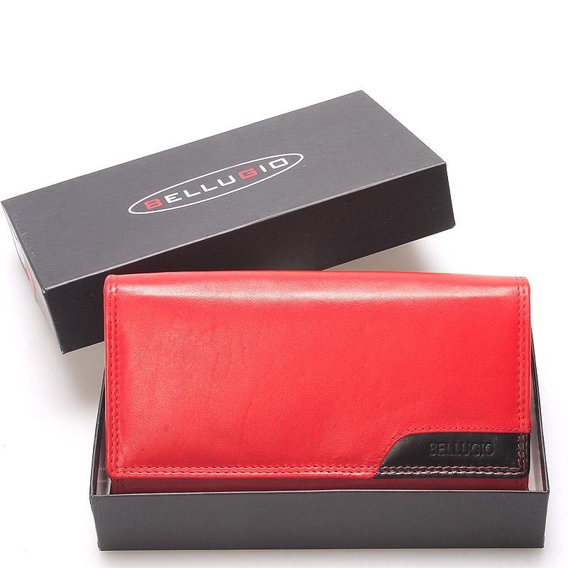 Velká stylová dámská kožená peněženka červená - Bellugio Calixte