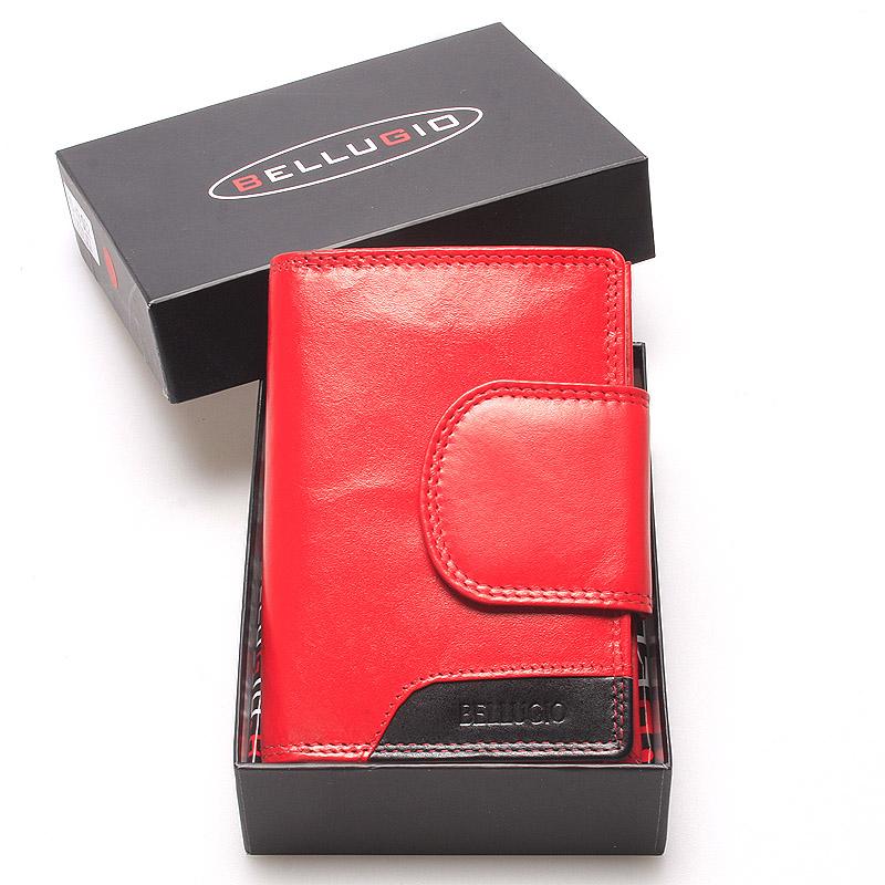 Středně velká dámská kožená peněženka červená - Bellugio Calla
