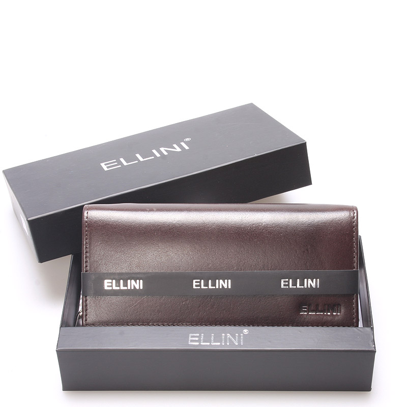 Dámská větší kožená čokoládově hnědá peněženka - Ellini Damaris