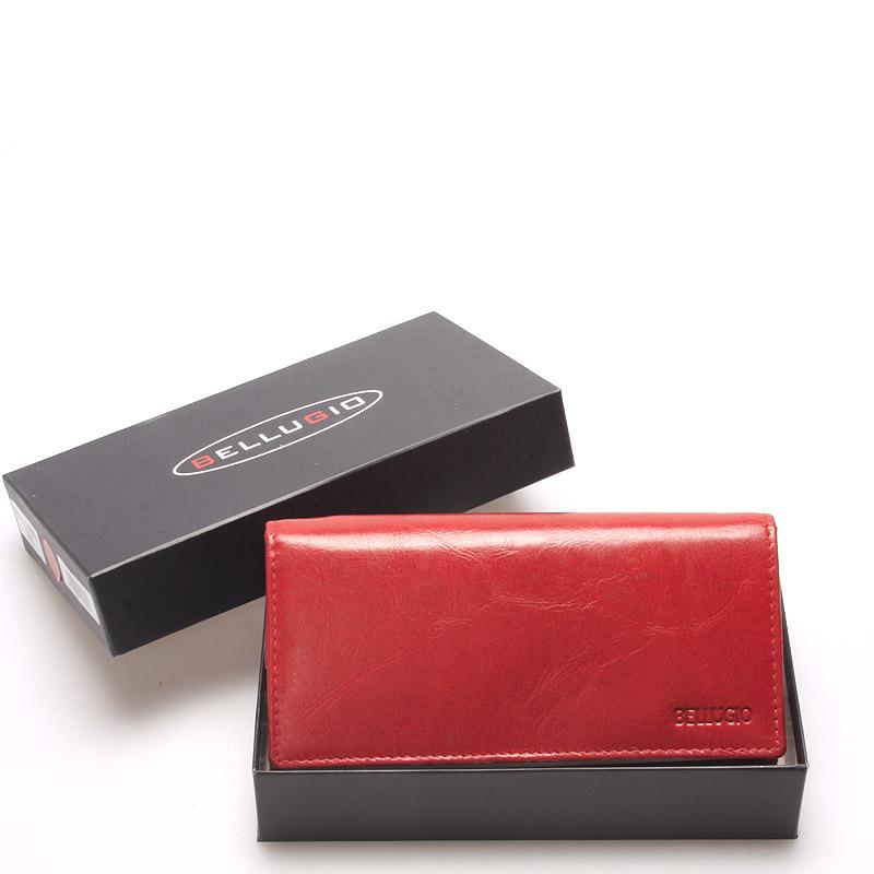 Velká dámská kožená peněženka červená - Bellugio Caeneus