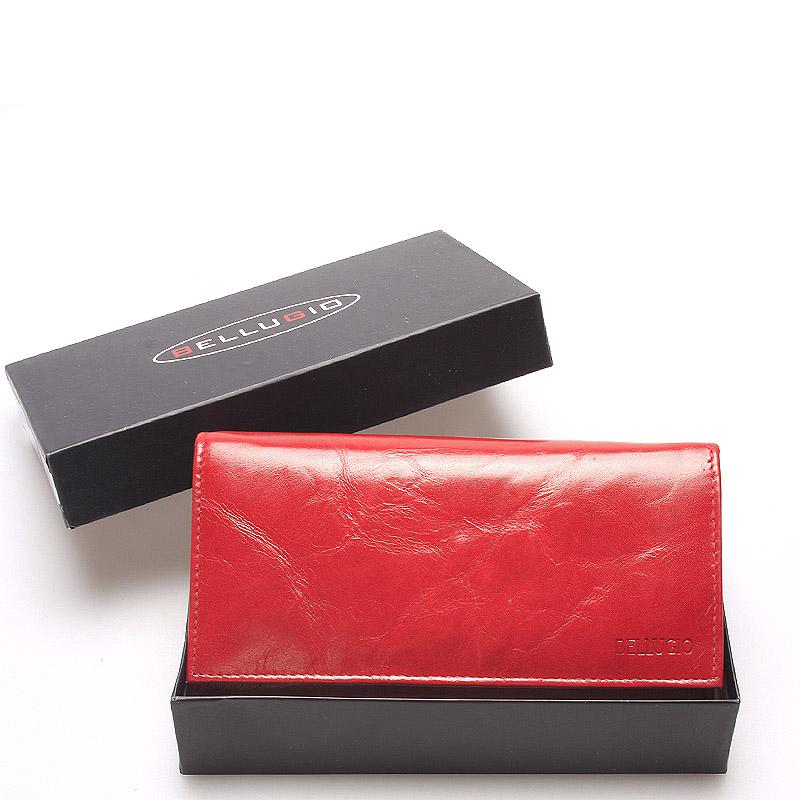 Velká kožená červná dámská peněženka - Bellugio Calantha