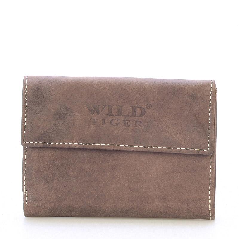 Moderní větší kožená peněženka tmavě hnědá - WILD Hades