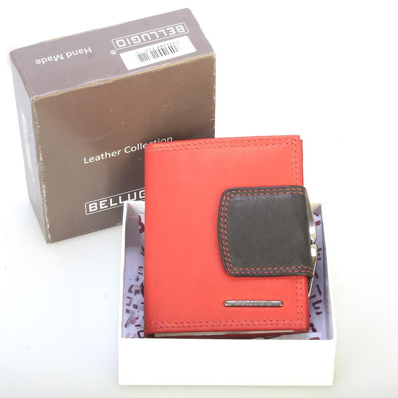 Stylová malá dámská kožená peněženka červená - Bellugio Gredel