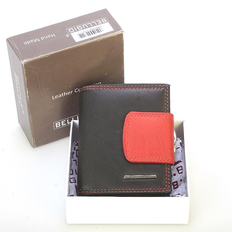 Stylová malá dámská kožená peněženka černá - Bellugio Gredel