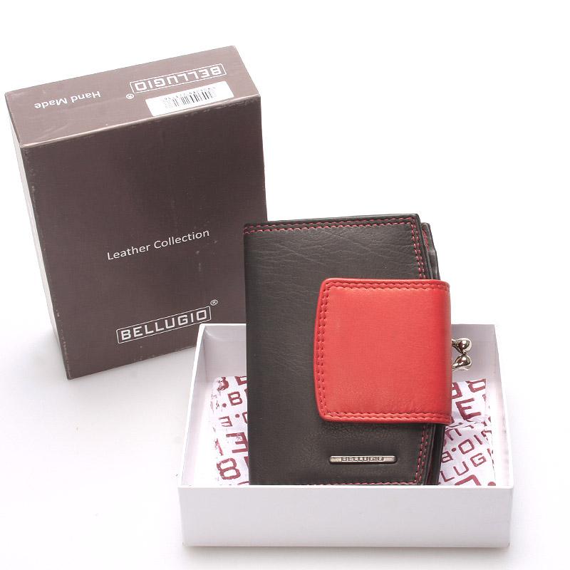 Luxusní dámská kožená peněženka černá - Bellugio Armi