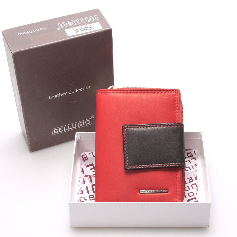 Dámská kožená peněženka červeno černá - Bellugio Eurusie