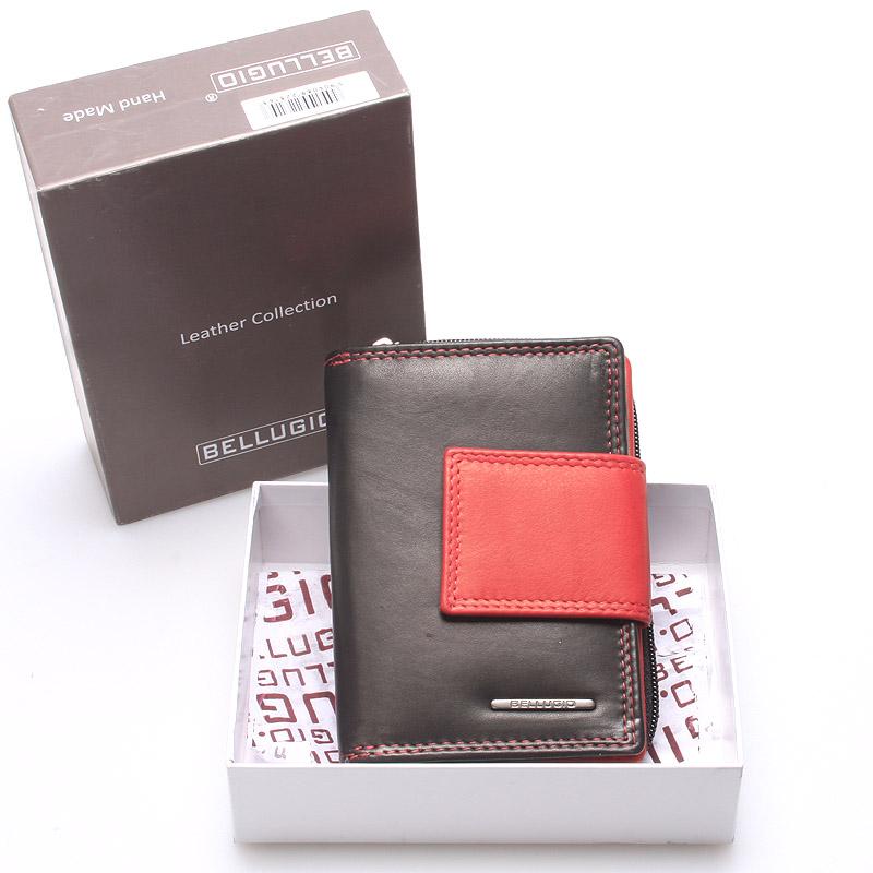 Dámská kožená peněženka černo červená - Bellugio Eurusie