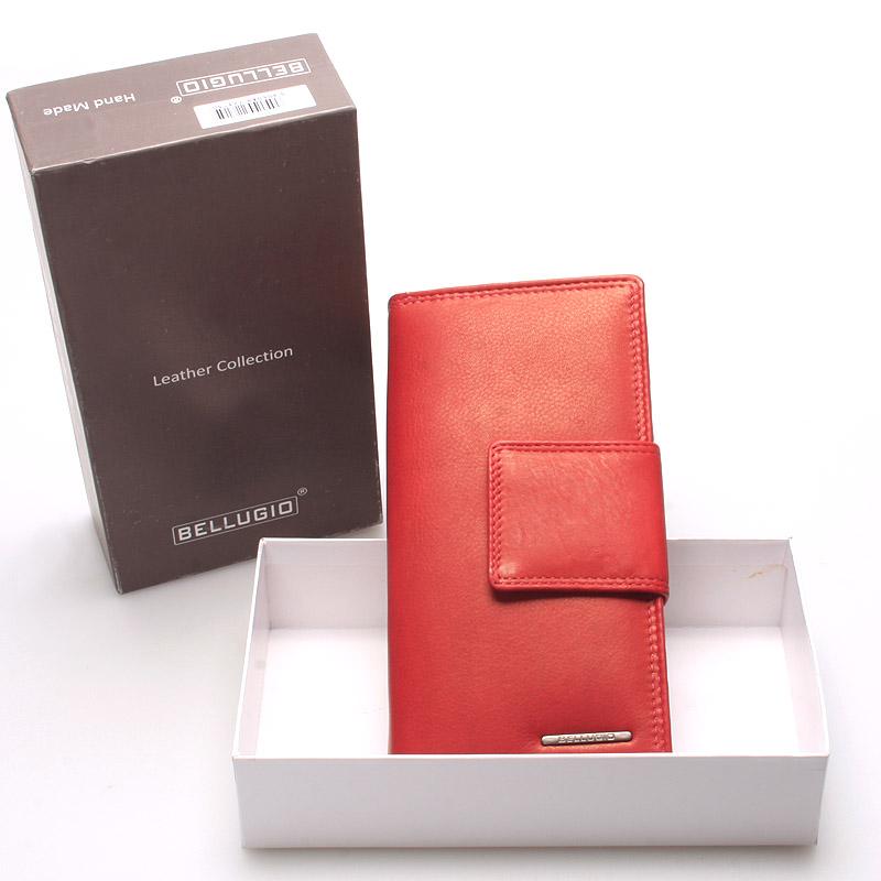 Velká dámská kožená peněženka červená - Bellugio Glykys