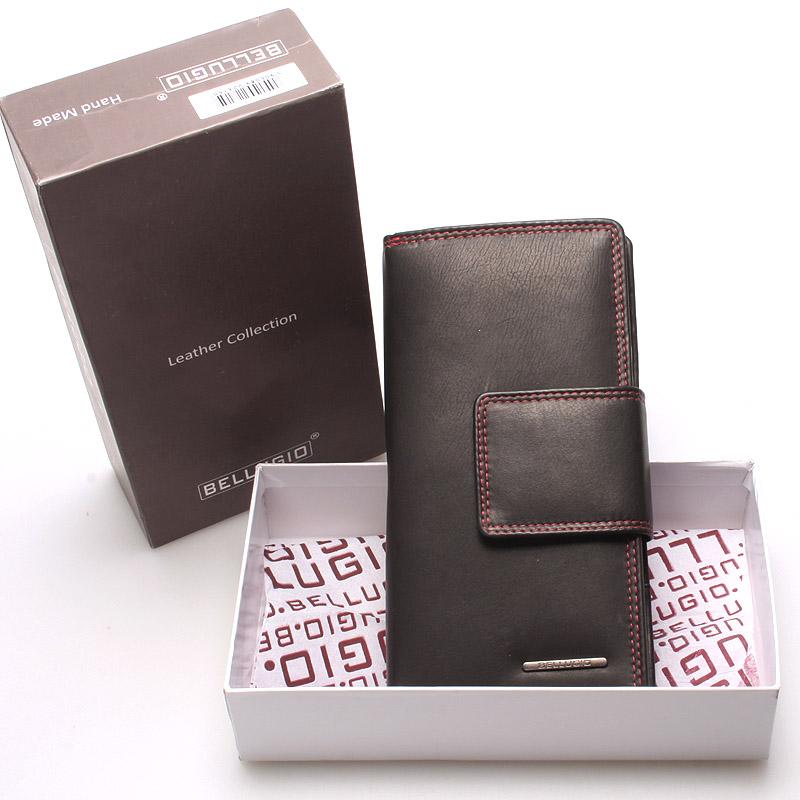 Velká dámská kožená peněženka černá - Bellugio Glykys