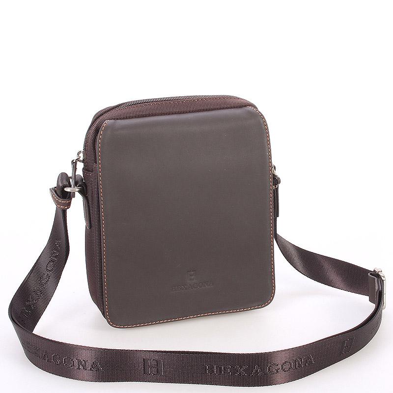 Tmavě hnědá kožená pánská taška přes rameno Hexagona 299162