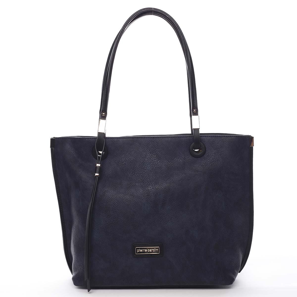 Luxusní dámská kabelka šedá modrá - Pierre Cardin Comtesa
