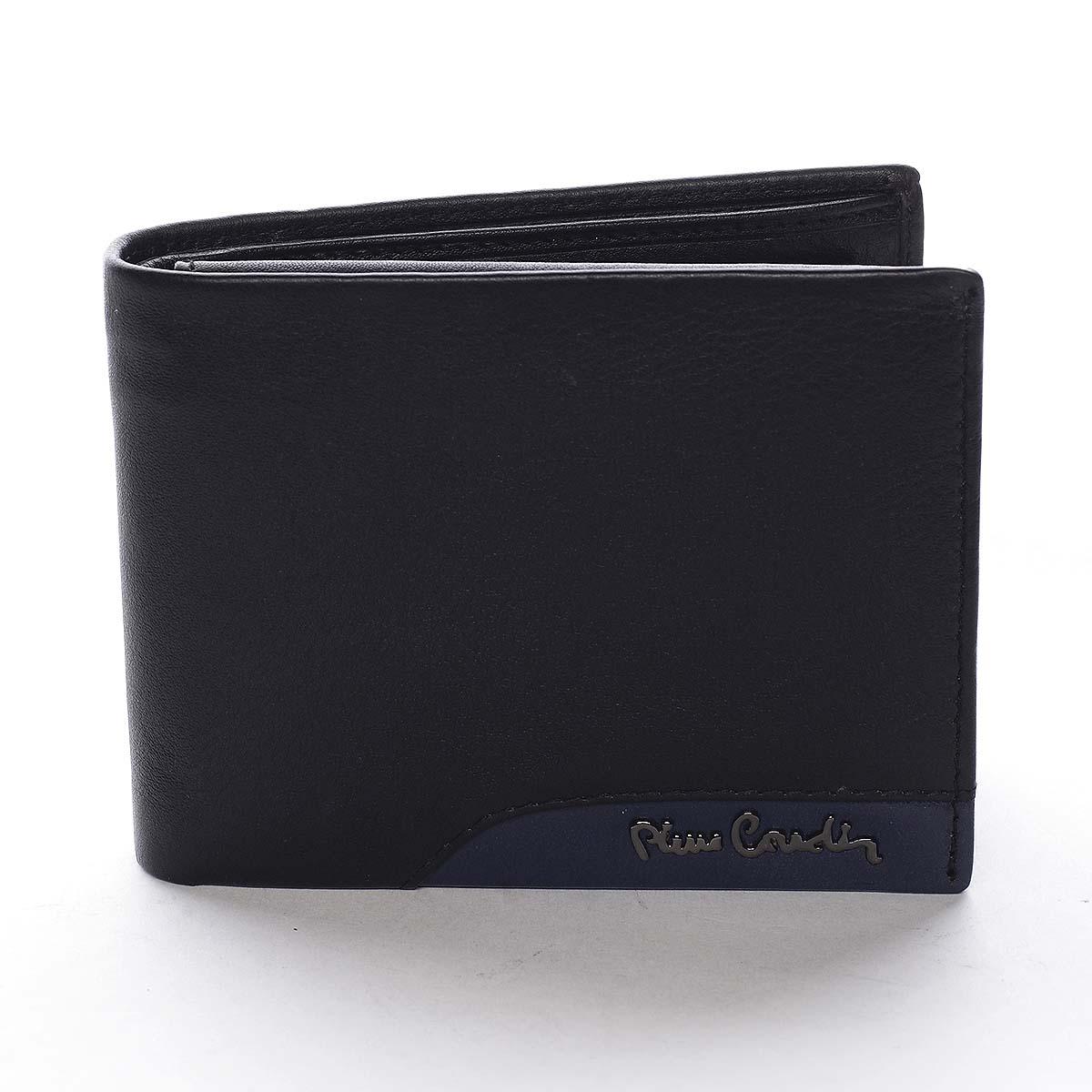 Pánská kožená peněženka černá - Pierre Cardin Mikel Blue