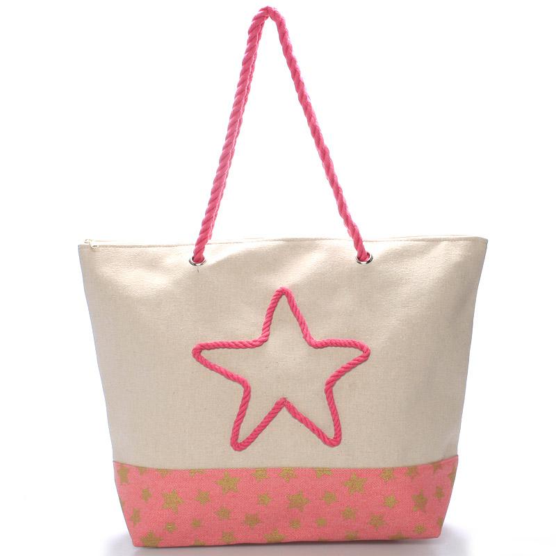 Plážová růžová taška - Delami Stars