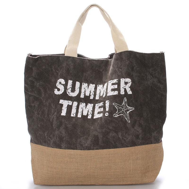 Plážová taška Summer Time tmavě šedá - Delami Sania