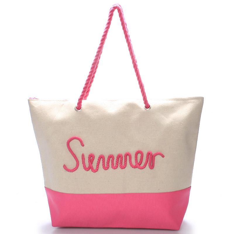 Plážová růžová taška Summer - Delami Sunline