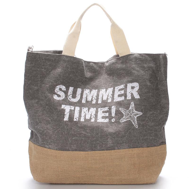 Plážová taška Summer Time světle šedá - Delami Sania