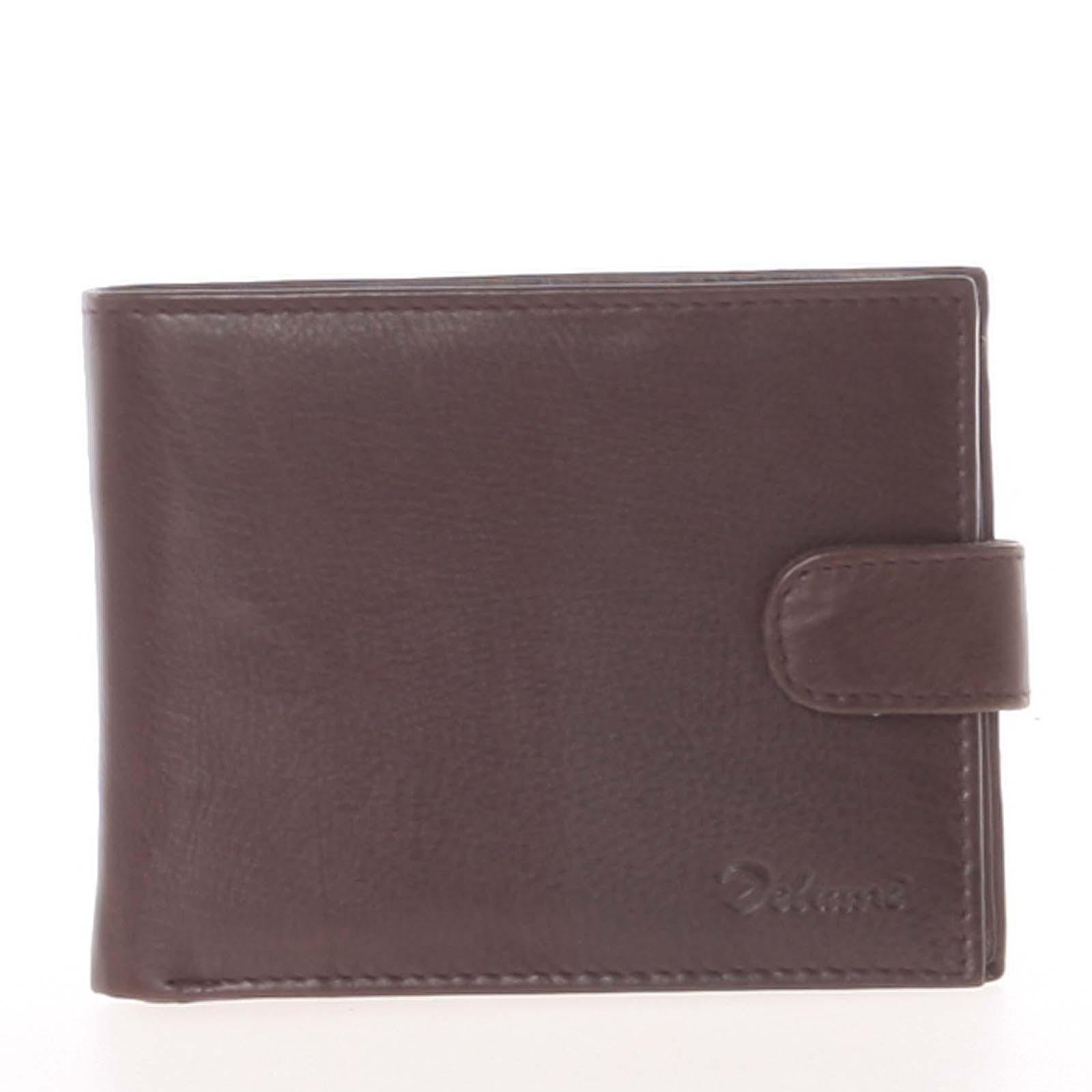 Pánská kožená tmavě hnědá peněženka - Delami 8945