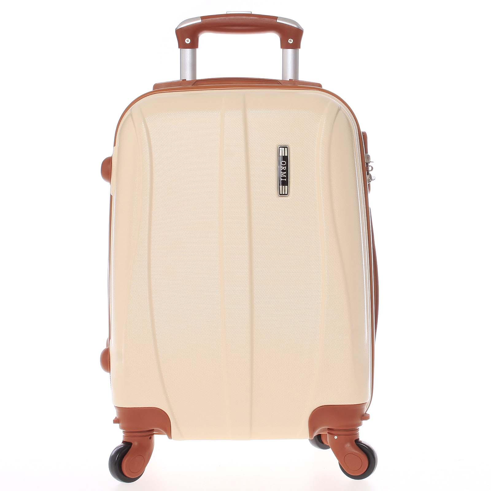 Pevný béžový palubní cestovní kufr - Ormi Othelo XS