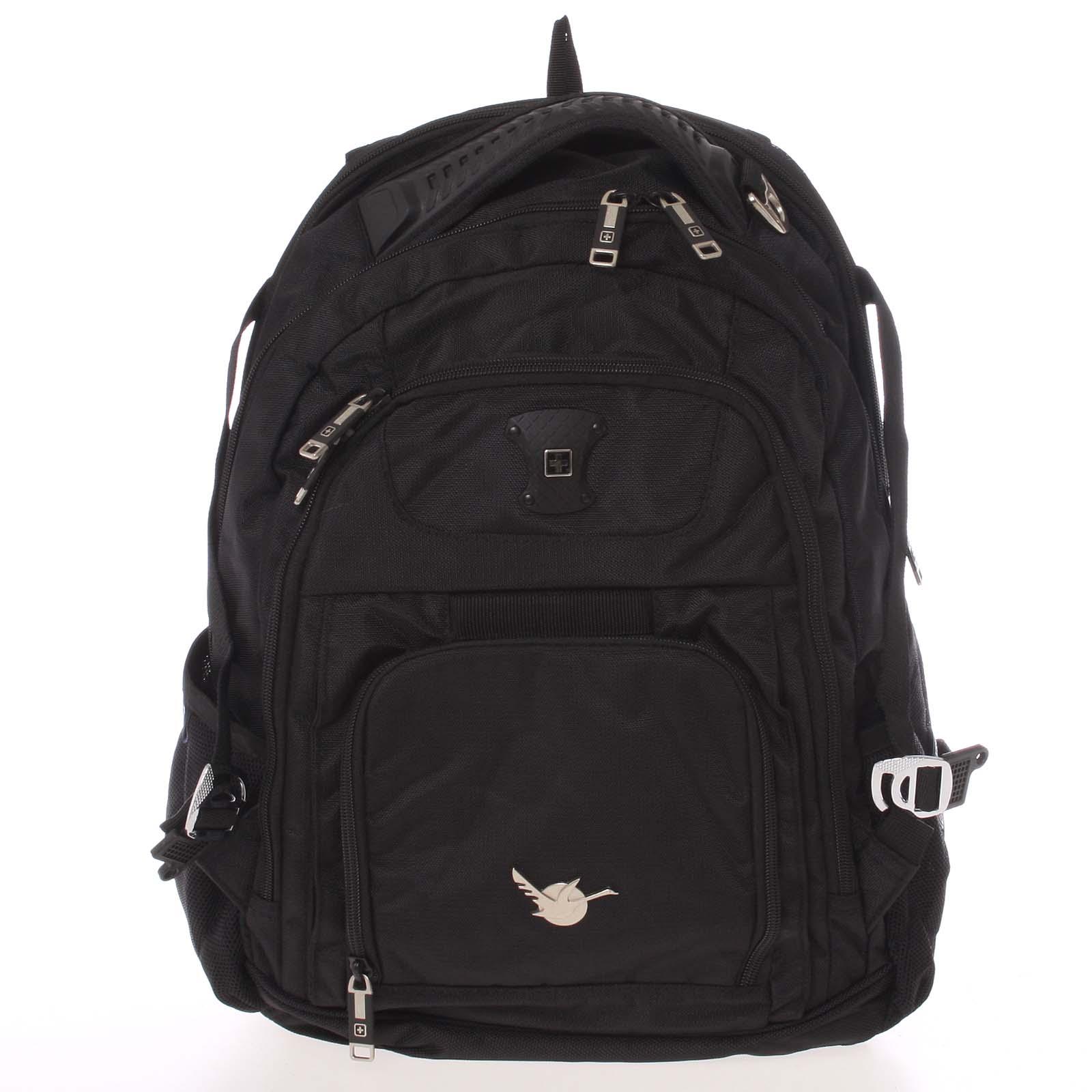 Luxusní a kvalitní turistický černý batoh - Suissewin 9081