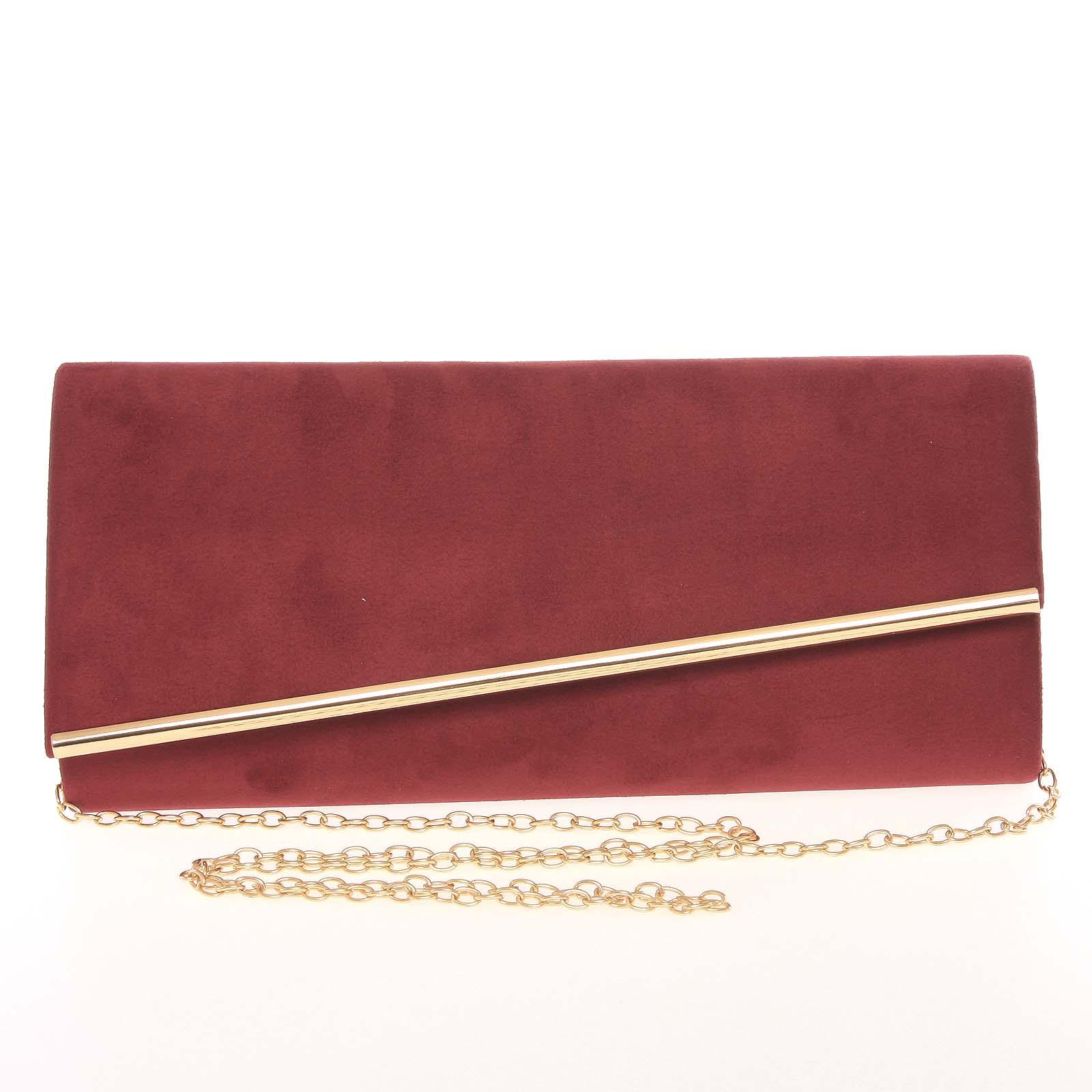 Elegantní dámské podlouhlé tmavě červené psaníčko - Delami 7410