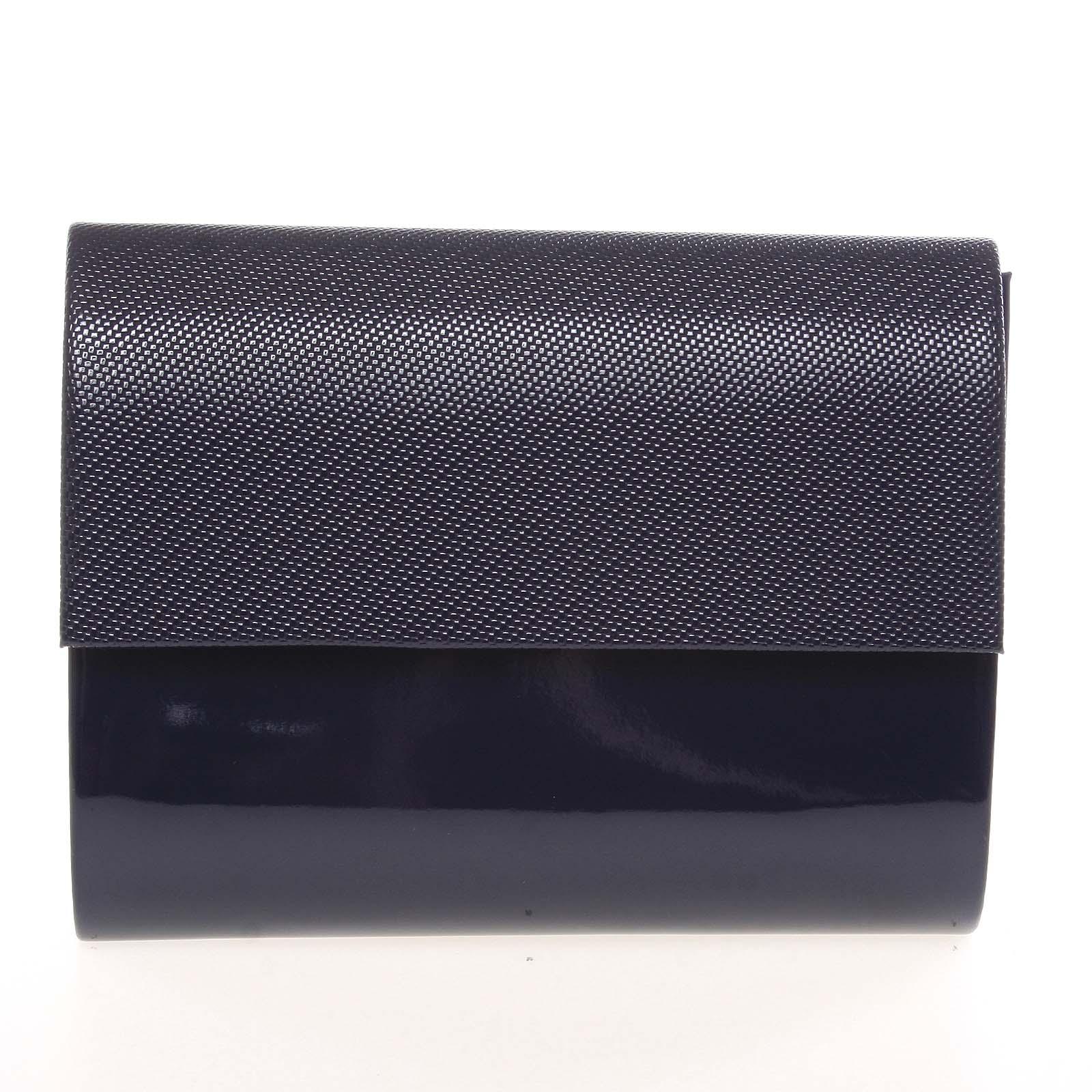 Střední dámské elegantní psaníčko lesklé tmavě modré se vzorem - Delami SanDiego