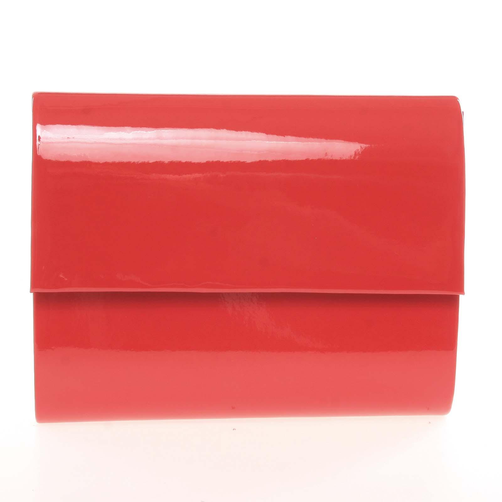 Střední dámské elegantní psaníčko červené lesklé - Delami SanDiego
