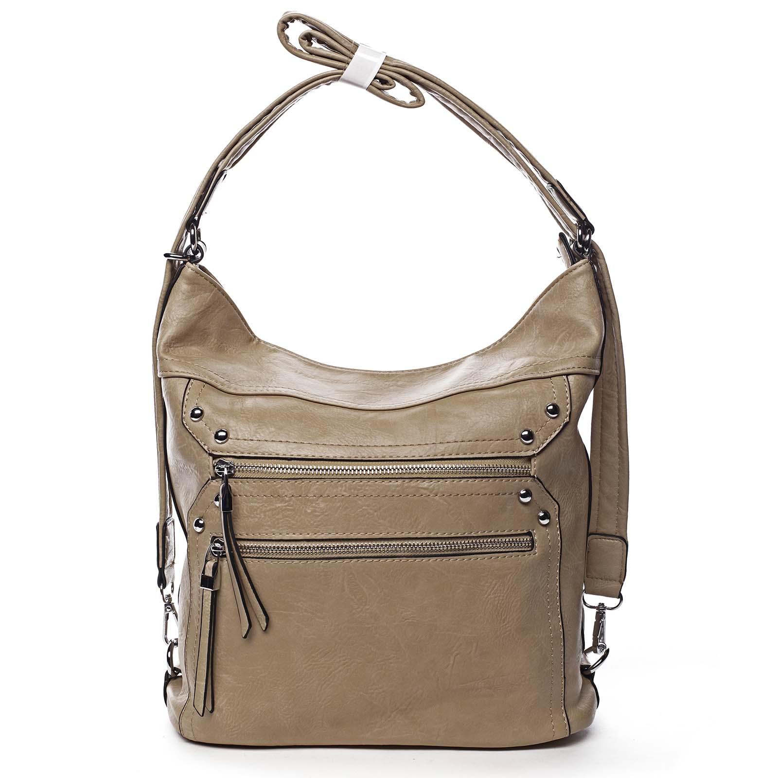 Dámská kabelka batoh tmavě béžová - Romina Alfa