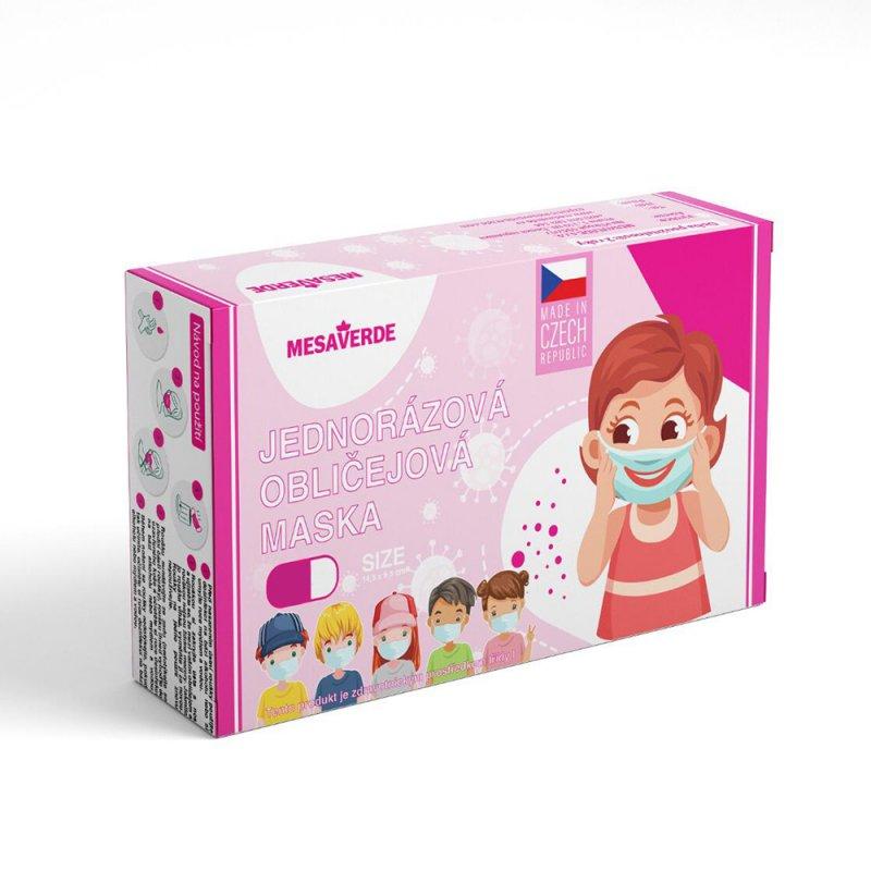 Jednorázová zdravotnická dětská rouška české výroby 10ks - holky