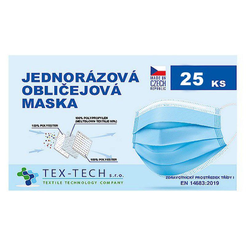 Jednorázová zdravotnická rouška české výroby 25ks